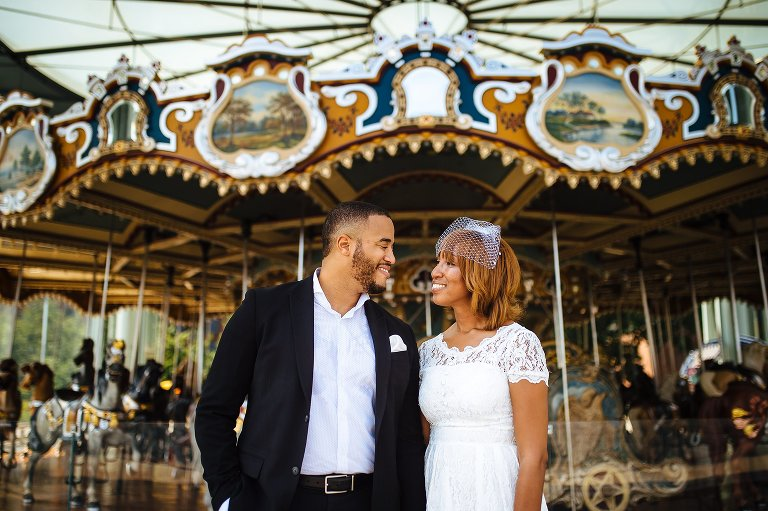 Bride and groom by Jane's Carousel, a perfect spot for Brooklyn elopement photos