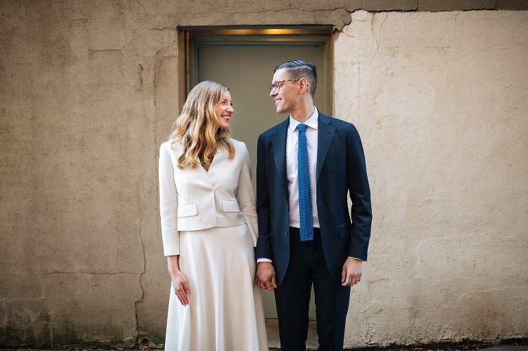 Exploring DUMBO Brooklyn for wedding photos is great when eloping