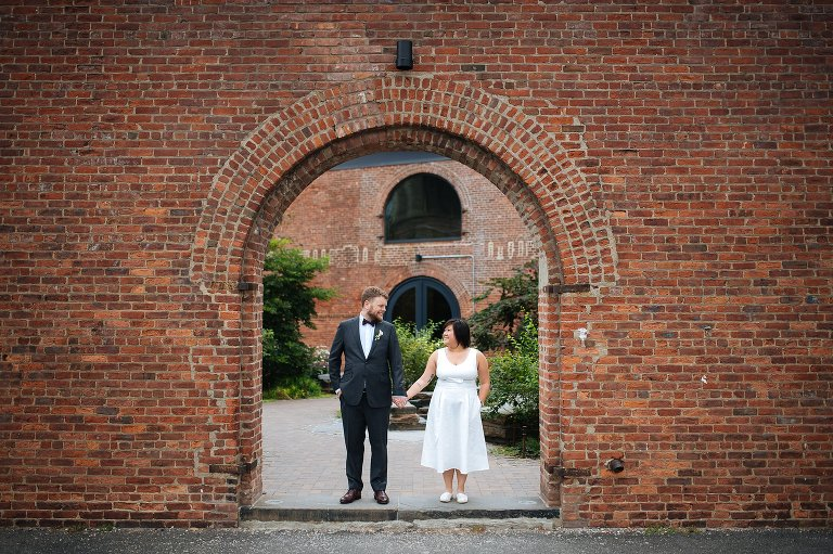 Architecture of old tobacco warehouses in DUMBO, used for wedding photos