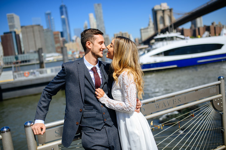 Best wedding photo locations in DUMBO includes Fulton Ferry Landing