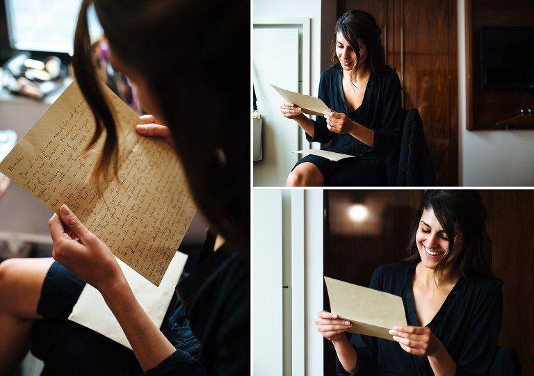 Bride opening letter from her groom on her wedding day at Hotel Hugo
