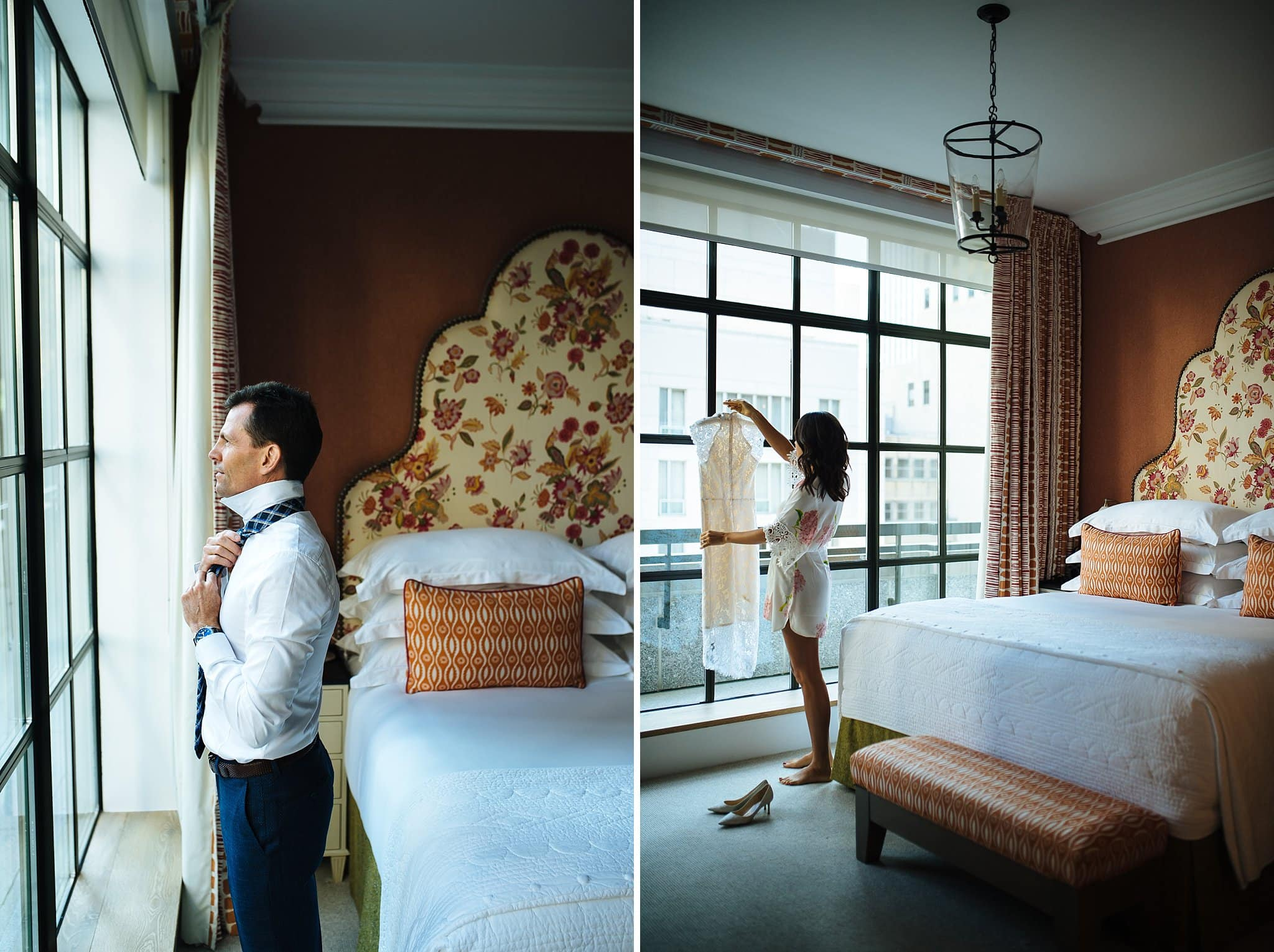 Bride and groom elopement getting ready photos at The Whitby hotel
