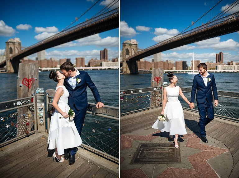 Wedding couple at Brooklyn waterfront with view of Brooklyn Bridge