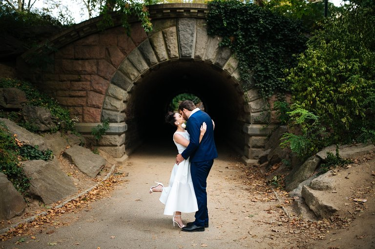 Wedding portrait of bride and groom in Central Park