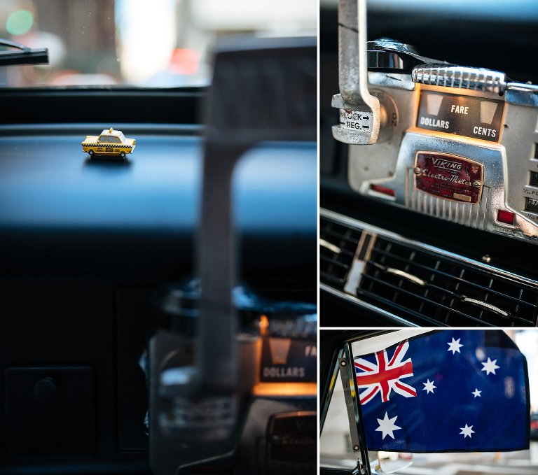 Details inside Checker cab on wedding day