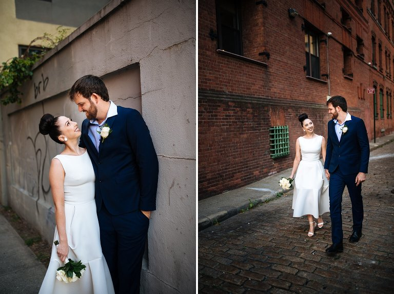 Portraits of bride and groom after City Hall wedding