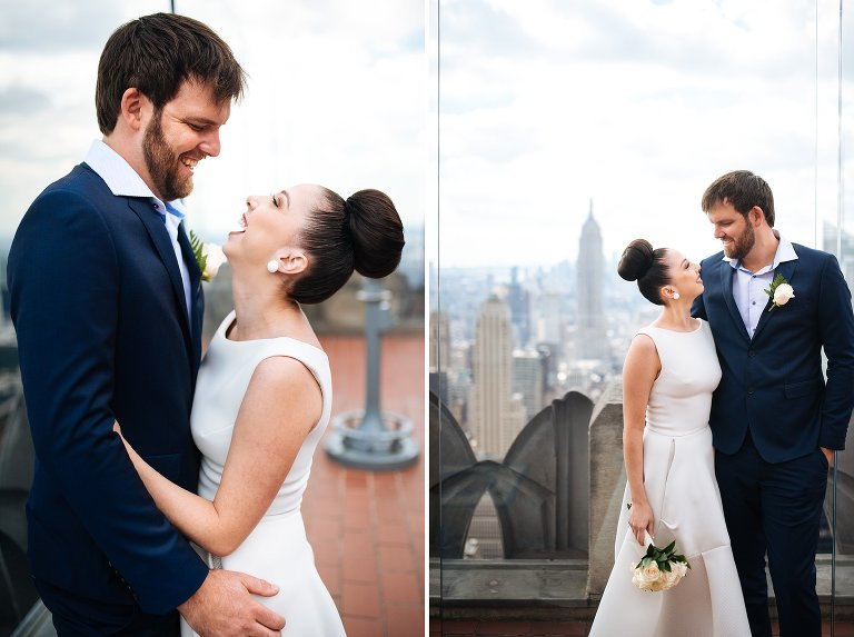 Top of the Rock wedding portraits of bride and groom after their City Hall wedding