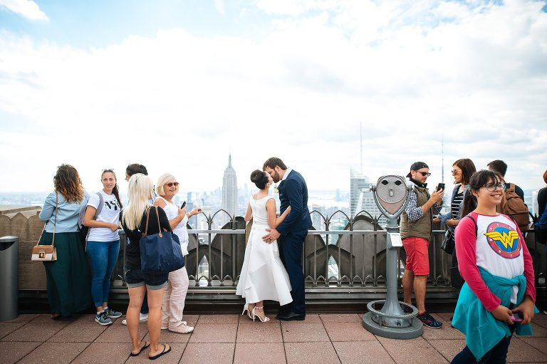 Wedding photos at Top of the Rock in NYC