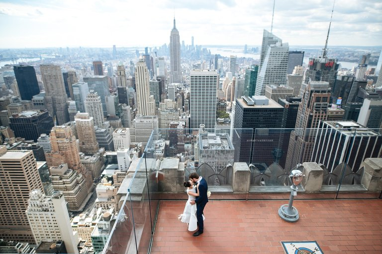 Top of the Rock wedding photo with skyline view