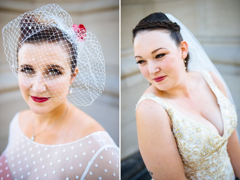 Individual portraits of the brides outside Riverside Church