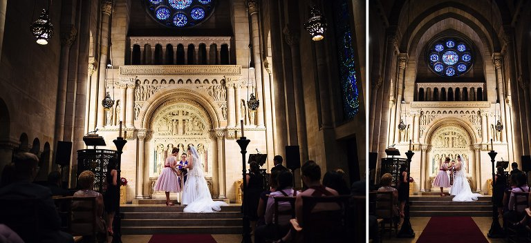 Brides exchanging rings during their Riverside Church wedding ceremony