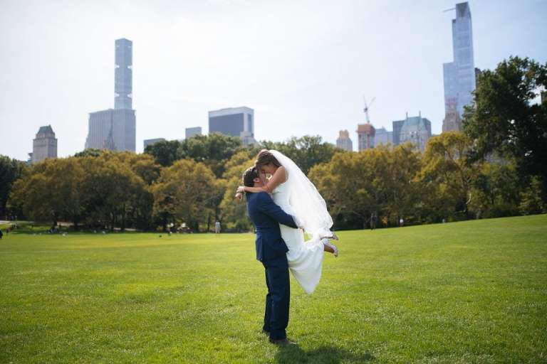 Wedding couple in Sheep Meadow NYC.