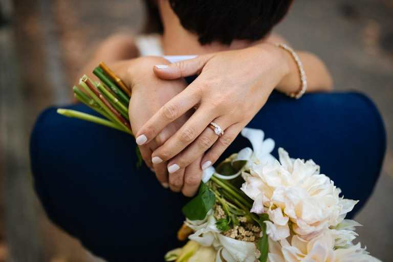 A detail photo of the bride's rings and bouquet.