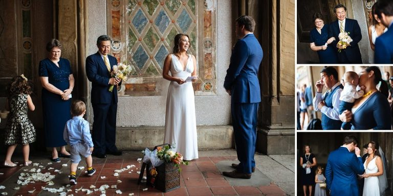 Bethesda Terrace elopement ceremony with family and friends.