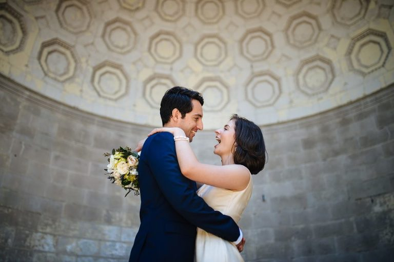 Naumburg Bandshell in Central Park with wedding couple