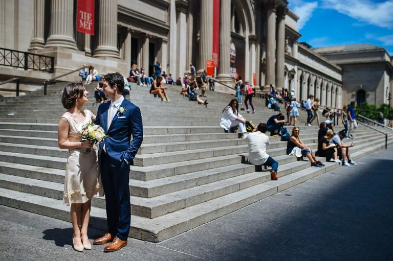 wedding couple in front of the Met Museum steps