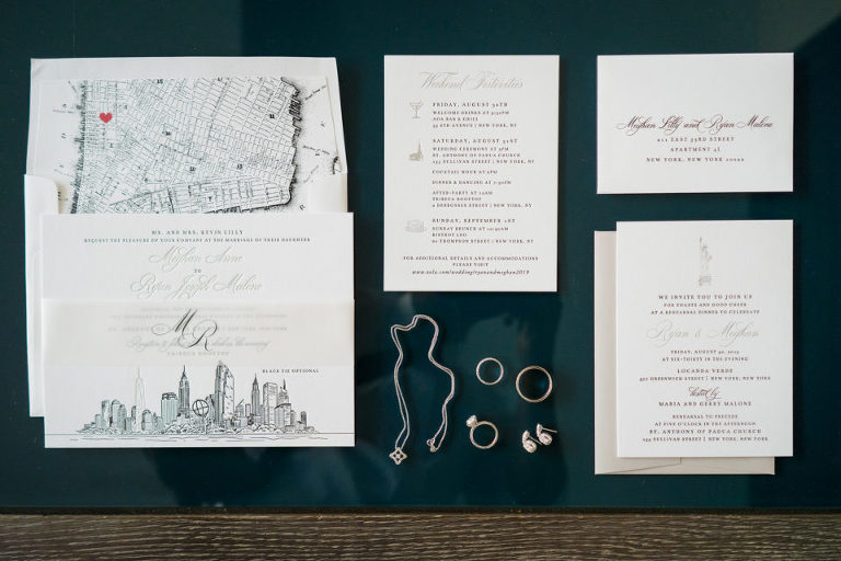 wedding invitations with NYC skyline and map detail