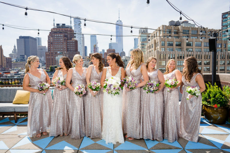 bridal party on NYC rooftop
