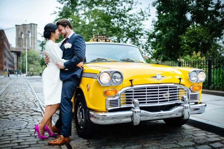 Hire a classic checker cab for your NYC elopement
