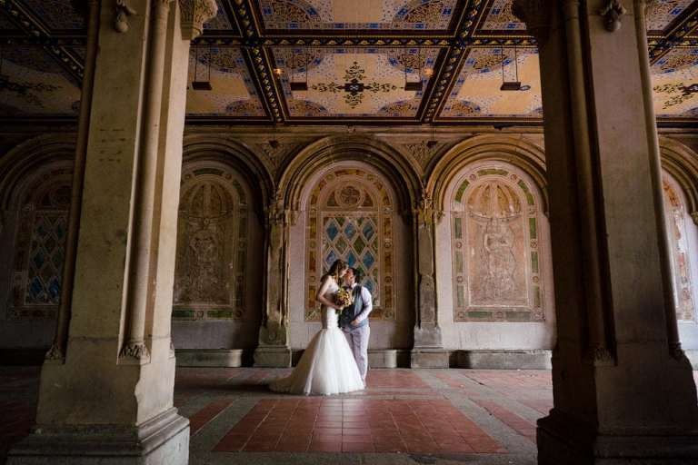 Bethesda Terrace featured for a wedding portrait with two brides.